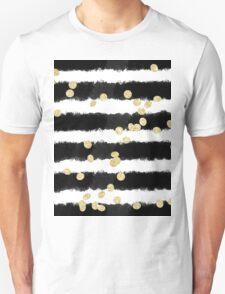 Modern black watercolor stripes chic gold confetti  Unisex T-Shirt