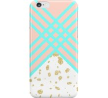 Modern turquoise geometric stripes gold confetti  iPhone Case/Skin