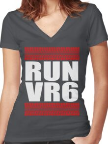 RUN VR6 tread Women's Fitted V-Neck T-Shirt