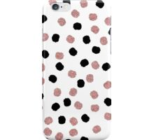 Modern rose gold black abstract brush polka dots iPhone Case/Skin