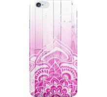 Modern handdrawn henna mandala pink ombre wood  iPhone Case/Skin