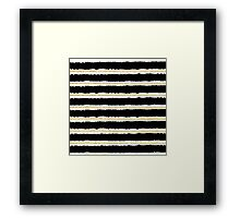 Stylish gold black handdrawn watercolor stripes  Framed Print