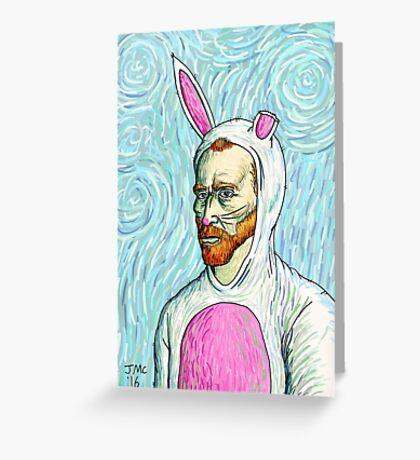 Van Gogh bunny costume Greeting Card