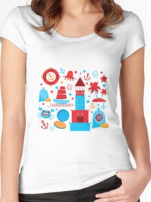 Sea and pirate icons Women's Fitted Scoop T-Shirt