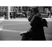 Woman on mobile phone in Victoria Photographic Print