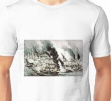 Com Farraguts fleet passing the forts on the Mississippi - 1862 - Currier & Ives Unisex T-Shirt