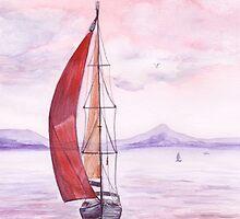 Sailing toward sunset by torishaa