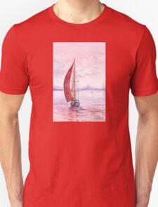 Sailing toward sunset Unisex T-Shirt
