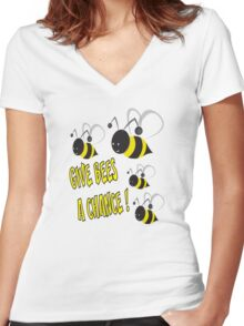 Give bees a chance Women's Fitted V-Neck T-Shirt