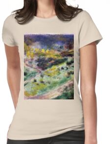 Auguste Renoir - Road at Wargemont 1879 Impressionism  Landscape Womens Fitted T-Shirt