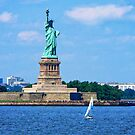 Manhattan - Sailboat By Statue Of Liberty by Susan Savad