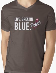 DODGERS LIVE.BREATHE.BLUE Mens V-Neck T-Shirt