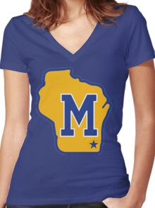 MILWAUKEE BREWERS LOGO Women's Fitted V-Neck T-Shirt