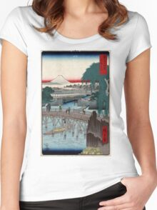 Ikkoku Bridge In the Eastern Capitol - Hiroshige Ando - 1858 - woodcut Women's Fitted Scoop T-Shirt