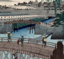 Ikkoku Bridge In the Eastern Capitol - Hiroshige Ando - 1858 - woodcut Sticker
