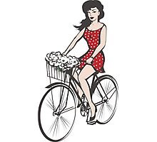 Girl on a bicycle Photographic Print