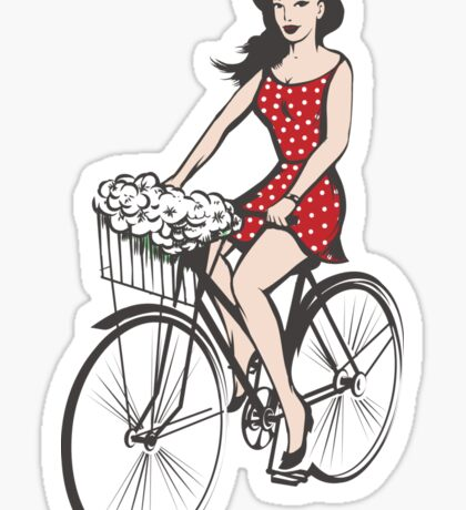 Girl on a bicycle Sticker