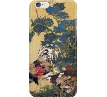 Rooster and Hen with Hydrangeas iPhone Case/Skin