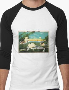 Instant Sinking Of The Ships In The Great Sea Battle AT Lushun Bay - anon - 1904 - Chromolithograph Men's Baseball ¾ T-Shirt
