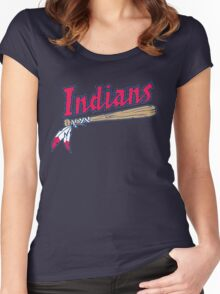 CLEVELAND INDIANS LOGO Women's Fitted Scoop T-Shirt
