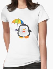 umbrella penguin Womens Fitted T-Shirt