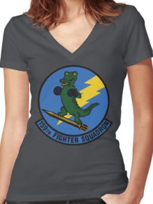 159th Fighter Squadron Emblem Women's Fitted V-Neck T-Shirt