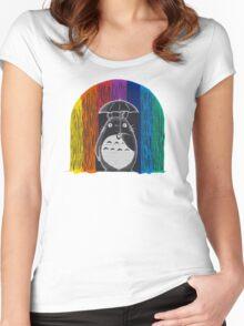 totoro rainbow rain Women's Fitted Scoop T-Shirt