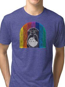 totoro rainbow rain Tri-blend T-Shirt