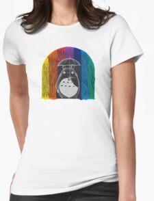 totoro rainbow rain Womens Fitted T-Shirt