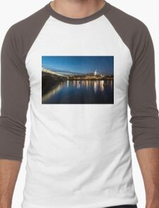 British Symbols and Landmarks - Silky Reflections Saint Paul's Cathedral and Blackfriars Bridge Men's Baseball ¾ T-Shirt