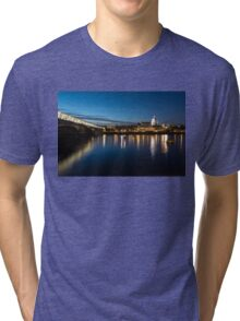 British Symbols and Landmarks - Silky Reflections Saint Paul's Cathedral and Blackfriars Bridge Tri-blend T-Shirt