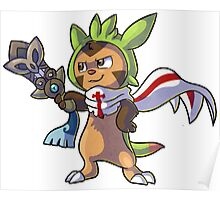 Chespin The Swordman with scraf Poster