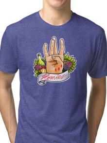 Homies West Coast Hand Sign tattoo flash Tri-blend T-Shirt