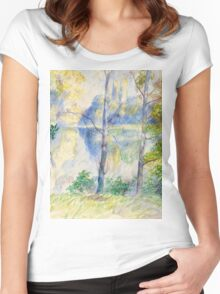 Auguste Renoir - View of a Park . 1885 Impressionism  Landscape Women's Fitted Scoop T-Shirt
