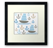 Sailboat on blue background Framed Print