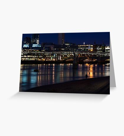 Strolling Down the Thames Riverbank Hand in Hand - Magical Night in London Greeting Card