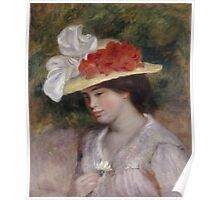 Auguste Renoir - Woman in a Flowered Hat 1889 Woman Portrait Poster