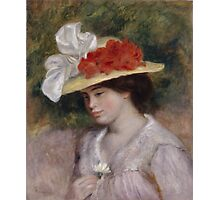 Auguste Renoir - Woman in a Flowered Hat 1889 Woman Portrait Photographic Print