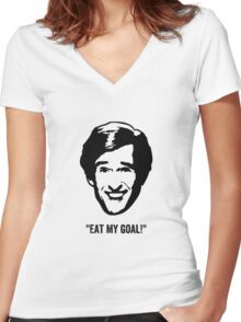 "Alan Partridge ""Eat My Goal!"" Quote Women's Fitted V-Neck T-Shirt"
