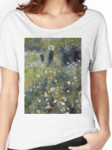 Auguste Renoir - Woman with a Parasol in a Garden 1875 Woman Portrait Women's Relaxed Fit T-Shirt