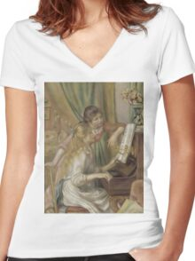 Auguste Renoir - Young Girls at the Piano 1892 Women's Fitted V-Neck T-Shirt