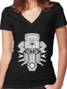 Piston lable Women's Fitted V-Neck T-Shirt