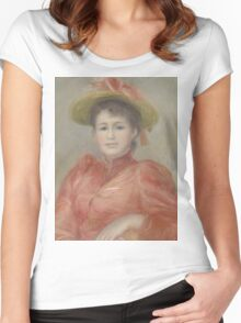 Auguste Renoir - Young Woman in Red Dress  1892 Woman Portrait Women's Fitted Scoop T-Shirt