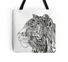 BlackWhite Zen Tiger Tote Bag