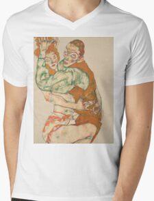 Egon Schiele - Lovemaking 1915 Woman Portrait Mens V-Neck T-Shirt