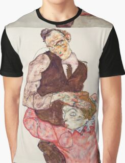 Egon Schiele - Lovers 1914-15 Woman Portrait Graphic T-Shirt