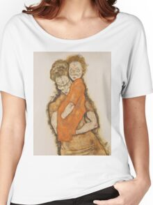 Egon Schiele - Mother and Child 1914 Woman Portrait Women's Relaxed Fit T-Shirt