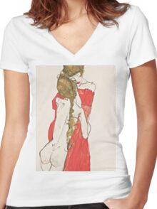 Egon Schiele - Mother and Daughter 1913 Woman Portrait Women's Fitted V-Neck T-Shirt