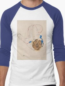 Egon Schiele - Nude with Blue Stockings, Bending Forward 1912 Woman Portrait Men's Baseball ¾ T-Shirt
