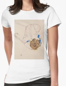 Egon Schiele - Nude with Blue Stockings, Bending Forward 1912 Woman Portrait Womens Fitted T-Shirt